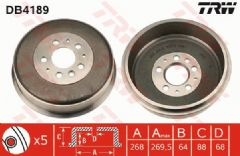 Brake Drum Rear 268x88mm